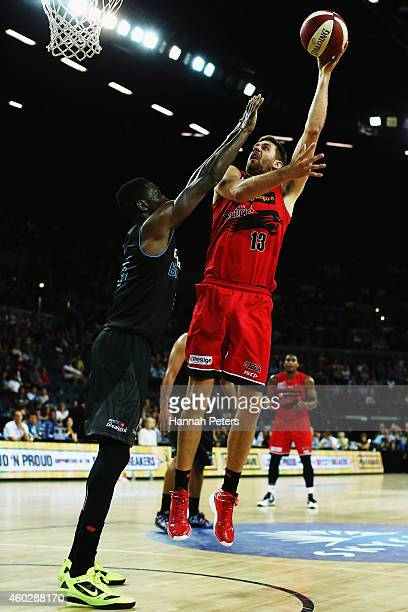 Tom Jervis of the Wildcats lays the ball up during the round 10 NBL match between the New Zealand Breakers and Perth Wildcats at Vector Arena on...