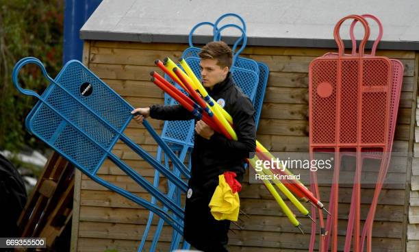 Tom Joel a member of of Leicester City sports science staff during a training session at their Belvoir drive traning centre prior to the Champins...