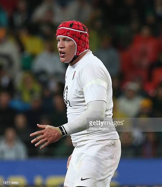 Tom Johnson of England looks on during the third test match between the South Africa Springboks and England at the Nelson Mandela Bay Stadium on June...