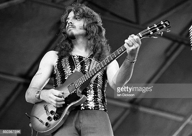 Tom Johnston of Doobie Brothers performing on stage Knebworth United Kingdom 1974 He is playing a Gibson L6S guitar