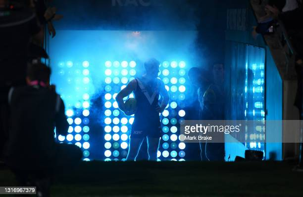 Tom Jonas of Port Adelaide waits to lead his team out of the race during the round eight AFL match between the Port Adelaide Power and the Adelaide...