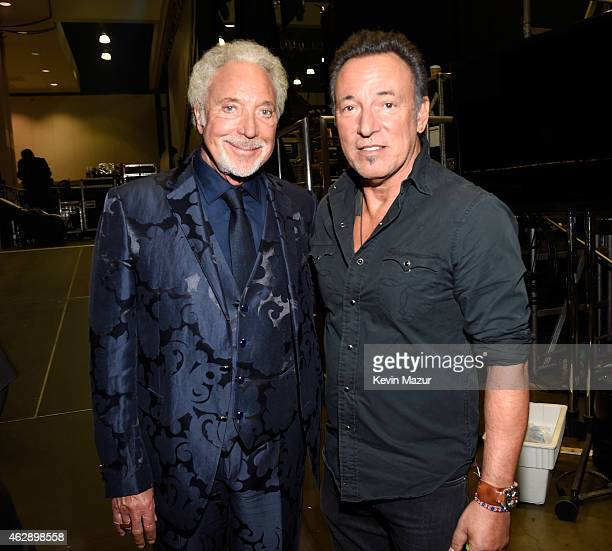 Tom Jones and Bruce Springsteen attend the 25th anniversary MusiCares 2015 Person Of The Year Gala honoring Bob Dylan at the Los Angeles Convention...