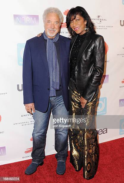 Tom Jones and Natalie Cole arrive at the NARM Music Biz 2013 Awards Dinner Party at the Hyatt Regency Century Plaza on May 9 2013 in Century City...