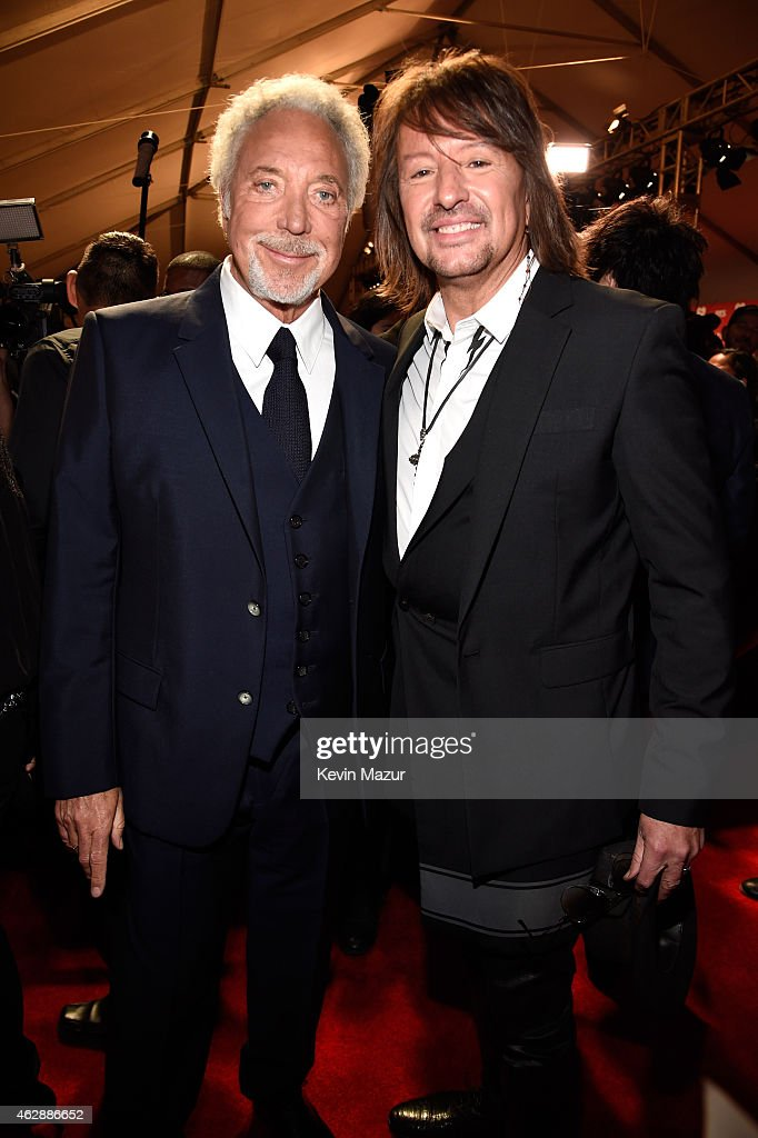 Tom Jones and Richie Sambora attend the 25th anniversary MusiCares 2015 Person Of The Year Gala honoring Bob Dylan at the Los Angeles Convention Center on February 6, 2015 in Los Angeles, California. The annual benefit raises critical funds for MusiCares' Emergency Financial Assistance and Addiction Recovery programs. For more information visit musicares.org.