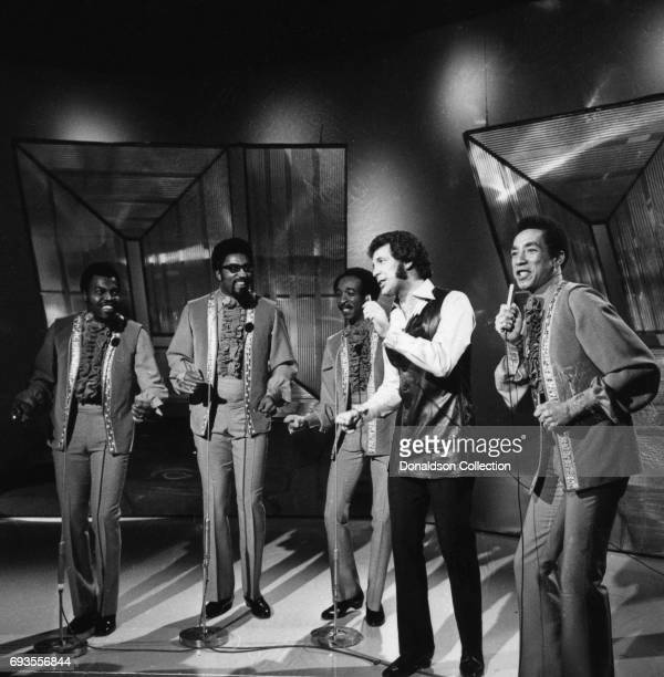 Tom Jones and Smokey Robinson and the Miracles performs on This Is Tom Jones TV show in circa 1970 in Los Angeles California