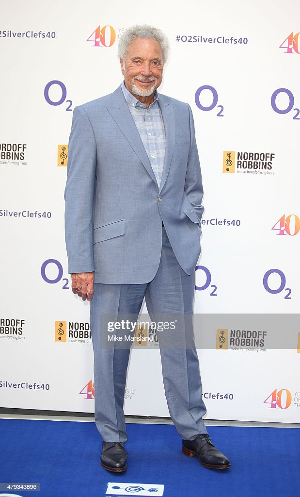 Tom Jones arrives at the Nordoff Robbins O2 Silver Clef Awards at The Grosvenor House Hotel on July 3, 2015 in London, England.
