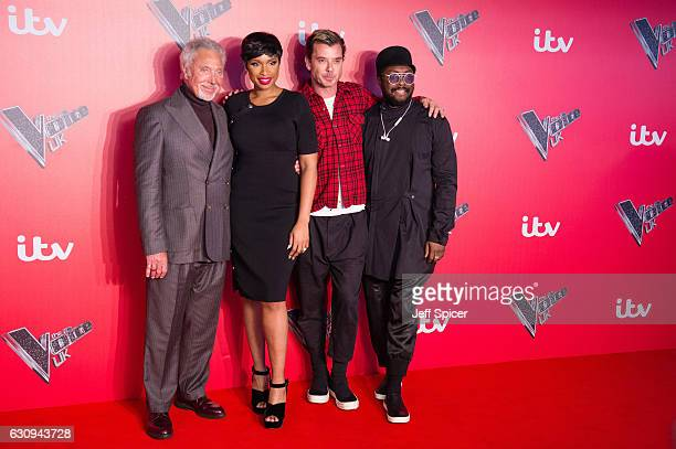 Tom Jones Jenifer Hudson Gavin Rossdale and WillIAm arrive for the press launch of The Voice UK at Millbank Tower on January 4 2017 in London England