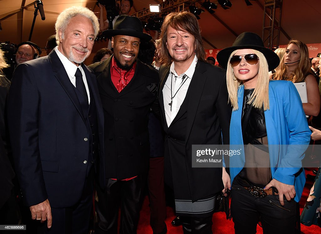 Tom Jones, Michael Bearden, Orianthi and Richie Sambora attend the 25th anniversary MusiCares 2015 Person Of The Year Gala honoring Bob Dylan at the Los Angeles Convention Center on February 6, 2015 in Los Angeles, California. The annual benefit raises critical funds for MusiCares' Emergency Financial Assistance and Addiction Recovery programs. For more information visit musicares.org.