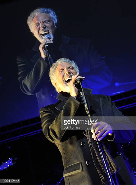 Tom Jones performs at Sound Vision the musical fundraiser in aid of Cancer Research UK at Abbey Road Studios on February 24 2011 in London England