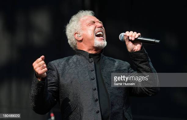 Tom Jones performs on the Virgin Media Stage on day 2 of the V Festival at Hylands Park on August 19 2012 in Chelmsford England