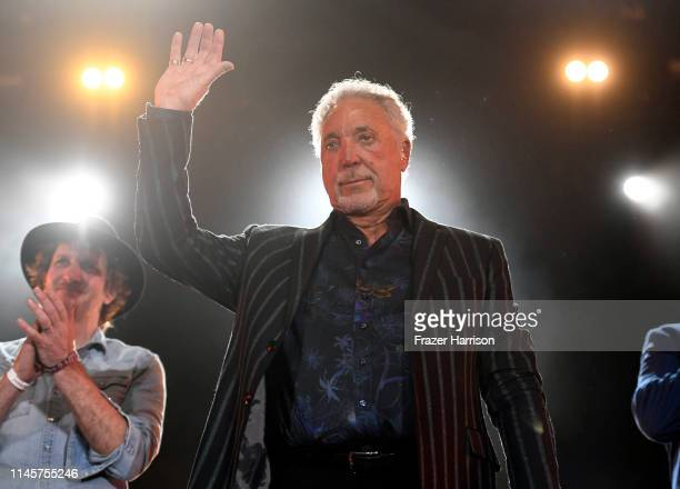 Tom Jones performs onstage during the 2019 Stagecoach Festival at Empire Polo Field on April 28 2019 in Indio California