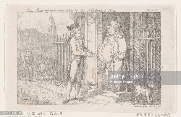 """Tom Jones Refused Admittance by the Nobleman's Porter, from """"The History of Tom Jones, a Foundling"""", 1792. Artist Thomas Rowlandson."""