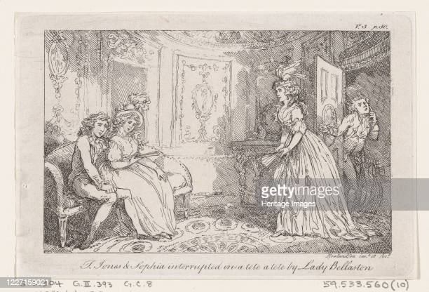 "Tom Jones & Sophia interrupted in a tete a tete by Lady Bellaston, from ""The History of Tom Jones, a Foundling"", 1792. Artist Thomas Rowlandson."
