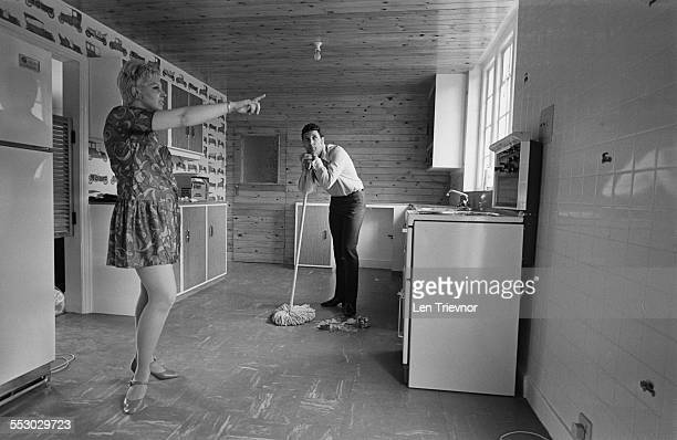 Tom Jones with his wife Melinda in their new home in Sudbury 1967