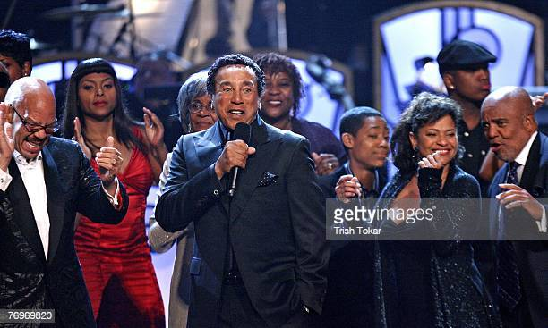 Tom Joyner, Smokey Robinson, Debbie Allen and Berry Gordy celebrate at the 29th Annual Evening of Stars honoring Smokey Robinson presented by the...