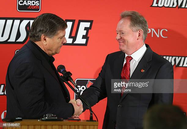 Tom Jurich the athletic director at the University of Louisville introduces Bobby Petrino as the head coach of the University of Louisville at Papa...