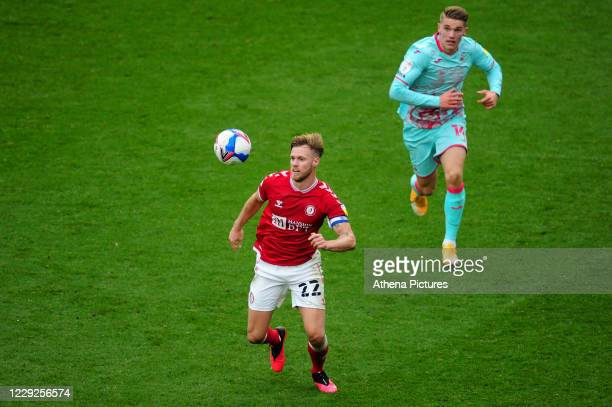 Tomá Kalas of Bristol City in action during the Sky Bet Championship match between Bristol City and Swansea City at Ashton Gate on October 24 2020 in...