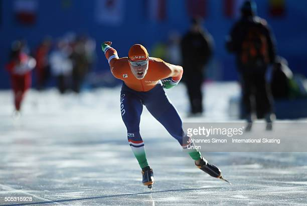 Tom Kant of Netherlands competes in the men 1500 m heats during day 1 of ISU speed skating junior world cup at ice rink Pine stadium on January 16...