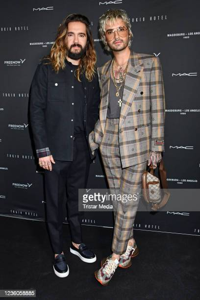 Tom Kaulitz and Bill Kaulitz attend the Tokio Hotel New Album Release Party on October 22, 2021 in Berlin, Germany.
