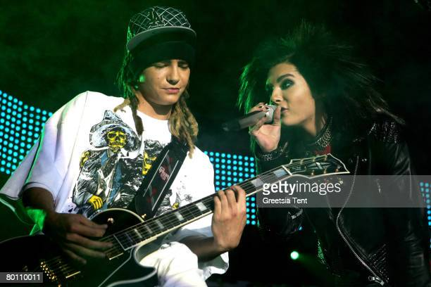Tom Kaulitz and Bill Kaulitz of Tokio Hotel perform at the Ahoy on March 4 2008 in Rotterdam the Netherlands