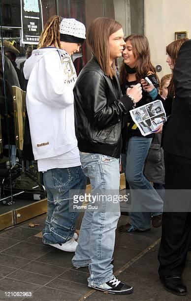 Tom Kaulitz and Georg Listing of 'Tokio Hotel' during German Boy Band 'Tokio Hotel' Sighting in Paris November 27 2006 at Paris in Paris France