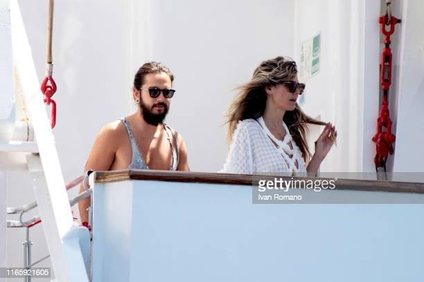 Tom Kaulitz and Heidi Klum are seen on the Christina O. Yacht on their wedding day on August 03, 2019 in Capri, Italy.