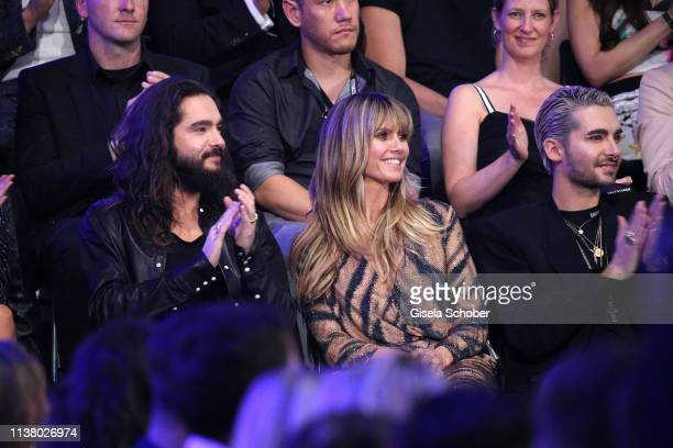 Tom Kaulitz and his fiance Heidi Klum and Bill Kaulitz during the 3rd ABOUT YOU Awards at Bavaria Studios on April 18 2019 in Munich Germany