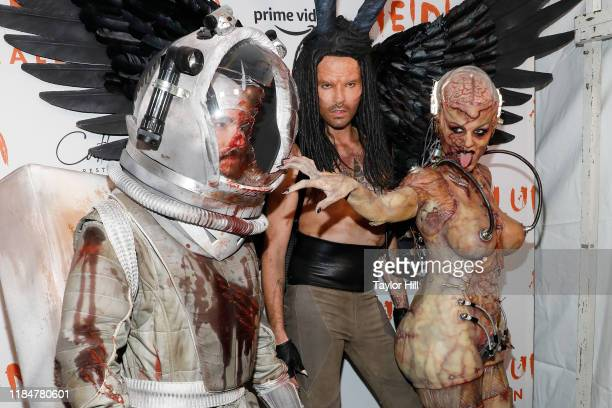 Tom Kaulitz Bill Kaulitz and Heidi Klum attend Heidi Klum's Annual Hallowe'en Party at Cathedrale on October 31 2019 in New York City