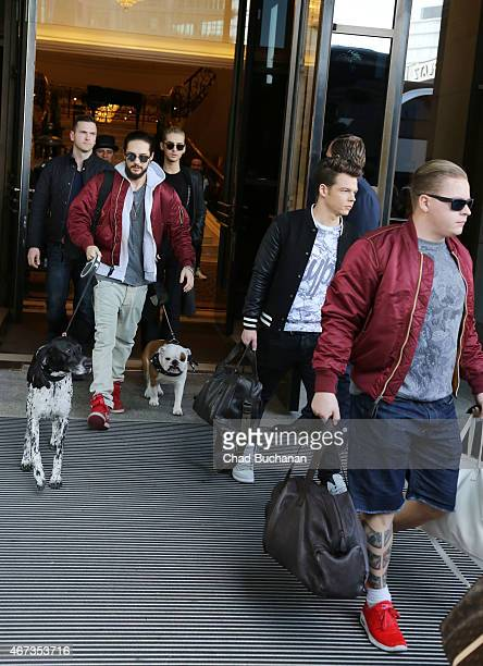Tom Kaulitz Bill Kaulitz Georg Listing and Gustav Schafer of the band Tokio Hotel sighted at the Ritz Carlton Hotel on March 23 2015 in Berlin Germany