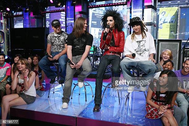 Tom Kaulitz Bill Kaulitz Georg Listing and Gustav Schafer of Tokio Hotel appear onstage during MTV's Total Request Live at the MTV Times Square...