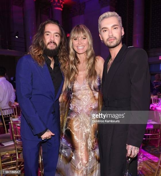 Tom Kaulitz Heidi Klum and Bill Kaulitz attend the Angel Ball 2019 hosted by Gabrielle's Angel Foundation at Cipriani Wall Street on October 28 2019...