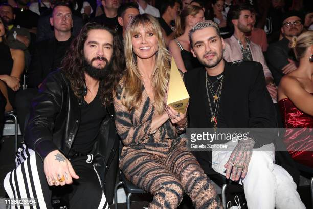 Tom Kaulitz Heidi Klum and Bill Kaulitz during the 3rd ABOUT YOU Awards at Bavaria Studios on April 18 2019 in Munich Germany