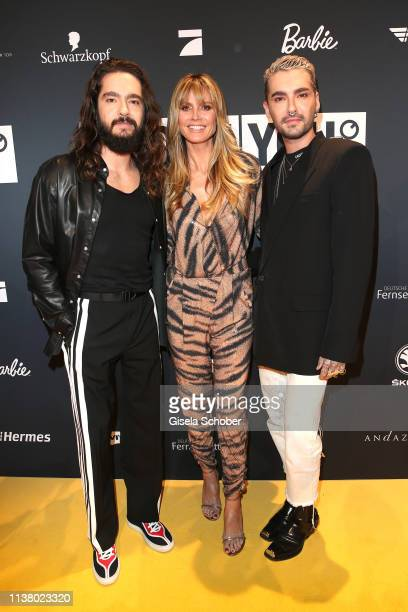 Tom Kaulitz Heidi Klum Bill Kaulitz during the 3rd ABOUT YOU Awards at Bavaria Studios on April 18 2019 in Munich Germany