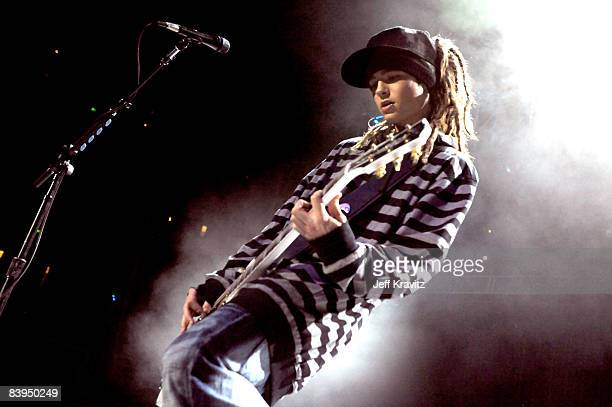Tom Kaulitz of Tokio Hotel performs at the 1027 KIIS FM Jingle Ball at The Honda Center on December 6 2008 in Anaheim California