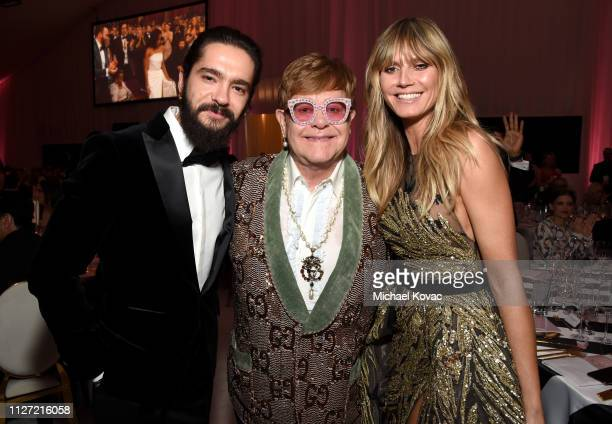 Tom Kaulitz Sir Elton John and Heidi Klum attend the 27th annual Elton John AIDS Foundation Academy Awards Viewing Party sponsored by IMDb and Neuro...