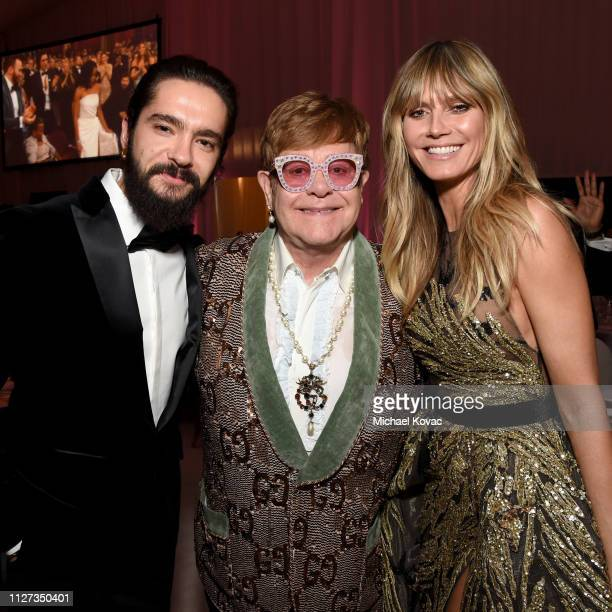 Tom Kaulitz Sir Elton John and Heidi Klum attend the 27th annual Elton John AIDS Foundation Academy Awards Viewing Party sponsored by IMDb and Neuro...