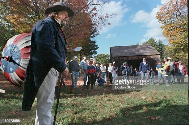 Tom Kelleher gives a speech during a recreation of the 1840 election at Old Sturbridge Village in Sturbridge Mass