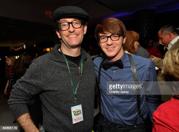 Tom Kenny the voice of SpongeBob SquarePants and actor Drake Bell attend the after party for Merry Christmas Drake Josh at the Westside Pavillion on...