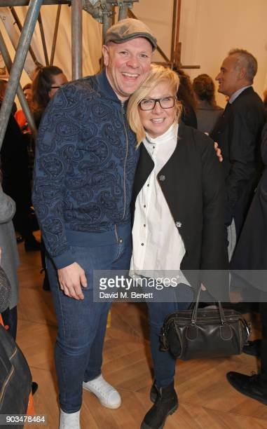 """Tom Kerridge and Beth Cullen-Kerridge attend the private view of """"JR: Giants - Body of Work"""" at Lazinc on January 10, 2018 in London, England."""