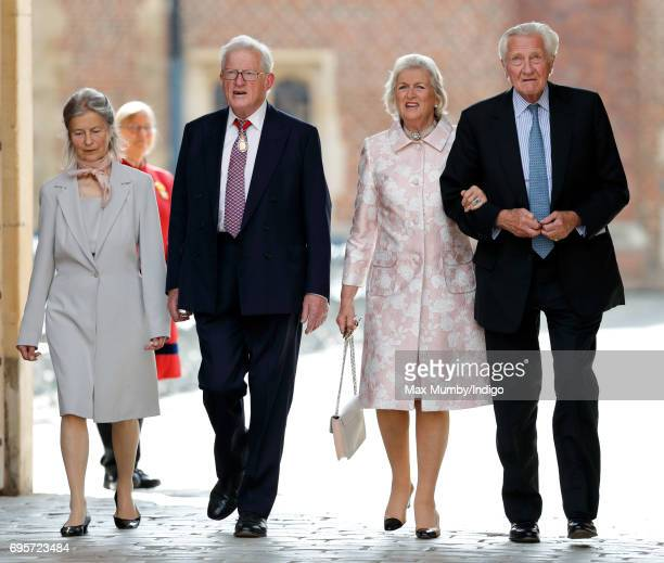 Tom King Baron King of Bridgwater and Lord Michael Heseltine arrives to attend Evensong at the Chapel Royal Hampton Court Palace to celebrate the...