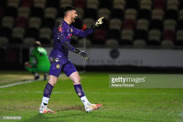 Tom King of Newport County in action during the FA Cup Third Round match between Newport County and Brighton And Hove Albion at Rodney Parade on...