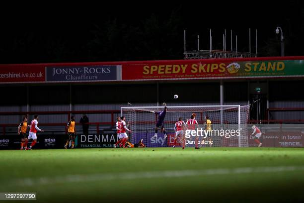 Tom King of Newport County makes a save during the Sky Bet League Two match between Cheltenham Town and Newport County at The Jonny-Rocks Stadium on...