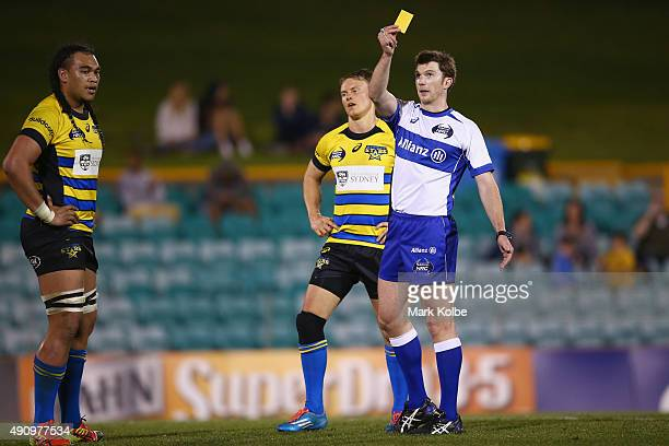 Tom Kingston of the Stars reacts as Senio Toleofoa of the Stars is given a yellow card by referee Will Houston during the NRC round seven match...