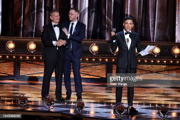"""Tom Kirdahy, Hunter Arnold, and Matthew López accept the award for Best Play for """"The Inheritance"""" onstage during the 74th Annual Tony Awards at..."""