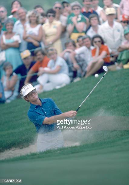 Tom Kite of the United States shoots out of a bunker during the 1981 US PGA Championship at the Atlantic Athletic Club in Duluth Georgia circa August...