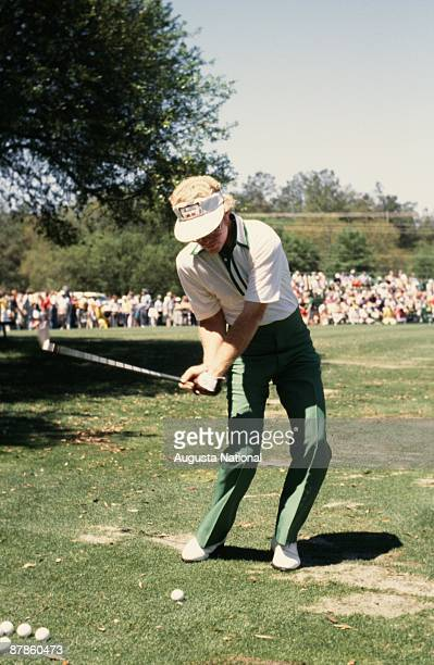 Tom Kite practices pitching during the 1979 Masters Tournament at Augusta National Golf Club in April 1979 in Augusta Georgia