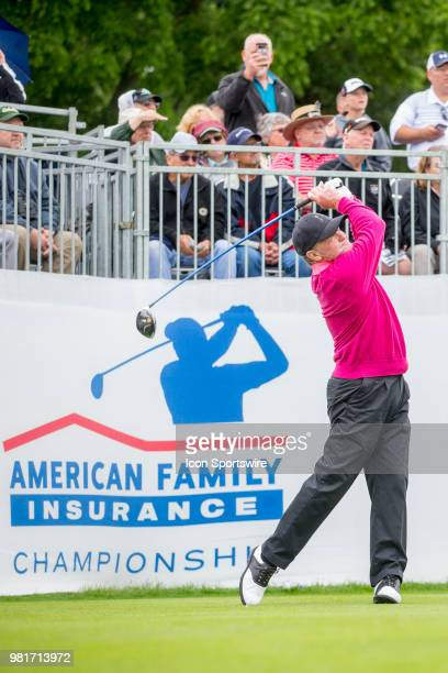 Tom Kite tees off on the first tee during the American Family Insurance Championship Champions Tour golf tournament on June 22 2018 at University...