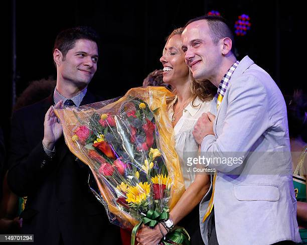 Tom Kitt Amanda Green and Jeff Whitty take a bow during the Broadway Opening Night Curtain Call at St James Theatre on August 1 2012 in New York City