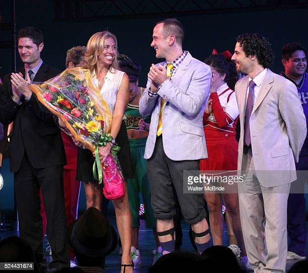 Tom Kitt Amanda Green Jeff Whitty Alex Lacamoire during the Broadway Opening Night Performance Curtain Call for 'Bring it On The Musical' at the St...