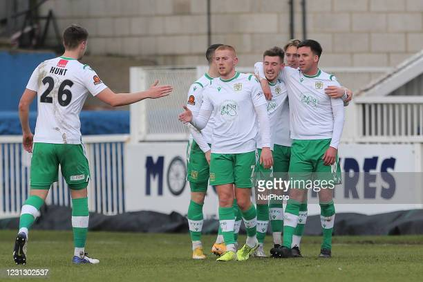 Tom Knowles of Yeovil Town celebrates with his team mates after scoring during the Vanarama National League match between Hartlepool United and...